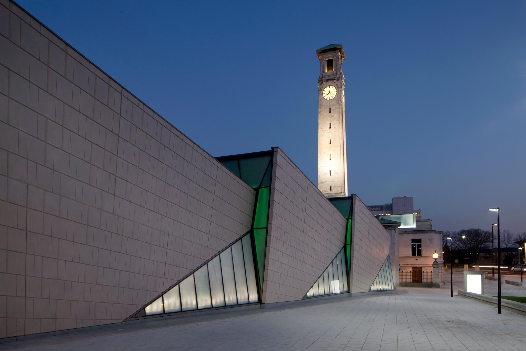 Seacity museum exterior night