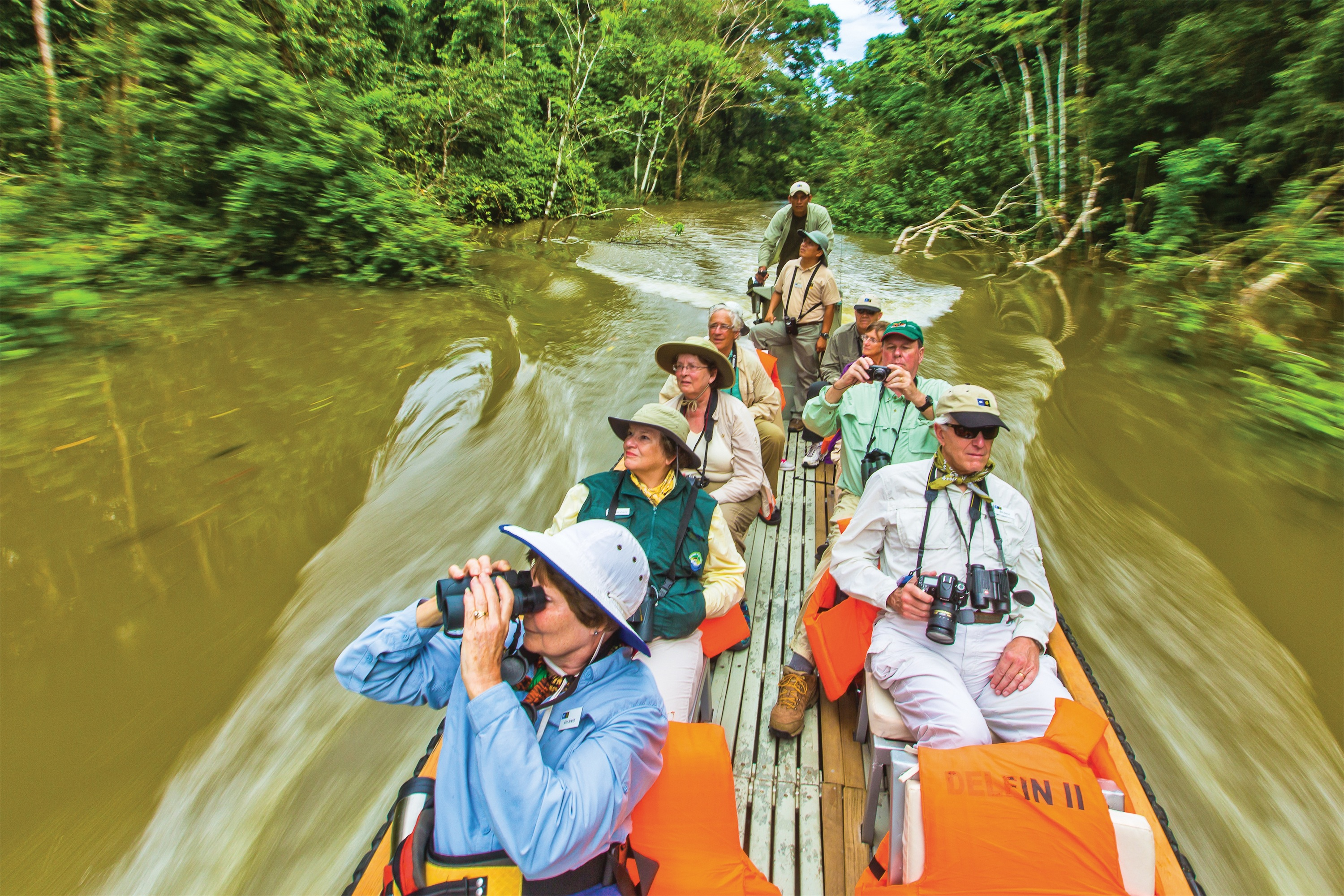 Lindblad Expeditions Delfin II Exterior Exploring by Skiff Ecotourism on the Amazon River.jpg