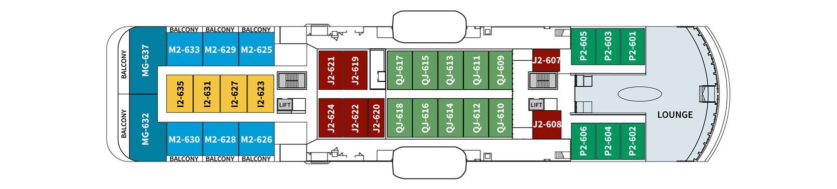 Hurtigruten MS Spitsbergen Deck Plans Deck 6.png