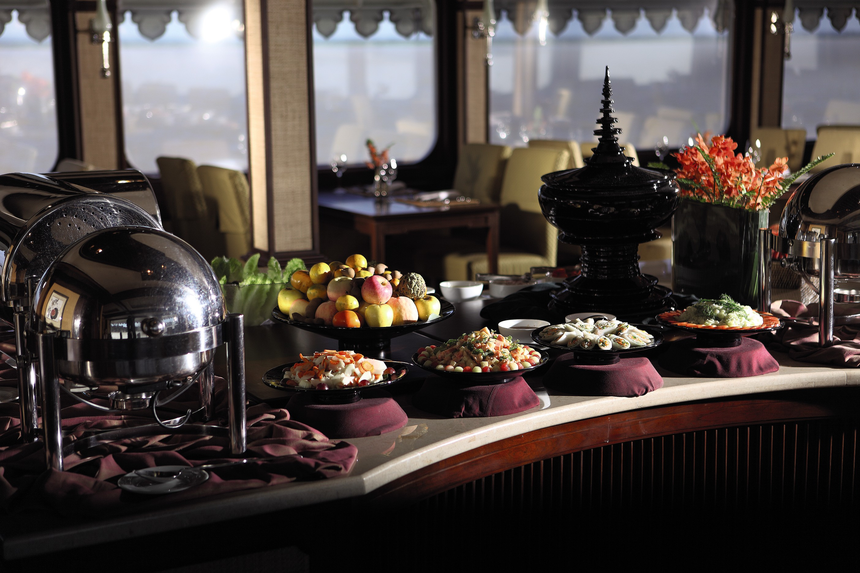 Belmond River Cruises Road to Mandalay Interior Restaurant Buffer.jpg